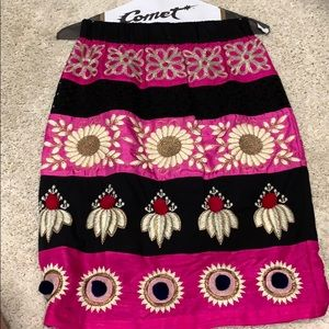Pom embroidered pencil skirt